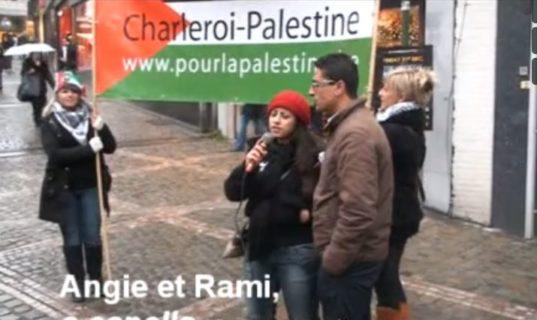 Action BDS en musique et en chantant dans le centre-ville de Charleroi