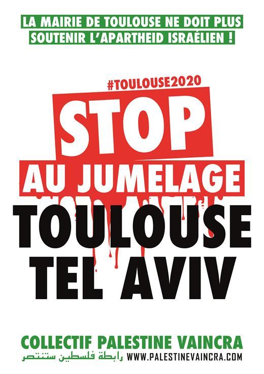 Affiche de la campagne «Stop au jumelage Toulouse Tel-Aviv»
