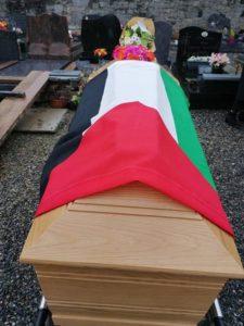 Le drapeau palestinien sur le cercueil de Marie-Claire
