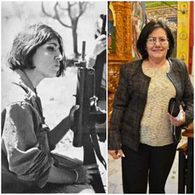 Therese Halasa en jeune combattante dans les camps et, plus tard, alors qu'elle était allée vivre à Amman, après sa libération.