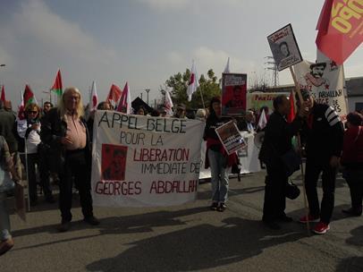 Avec l'Appel belge pour la libération de Georges Abdallah, nous nous sommes rendus à plusieurs reprises aux rassemblements devant la prison de Lannemezan