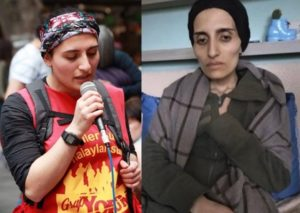 Helin Bölek, avant et pendant sa grève de la faim.