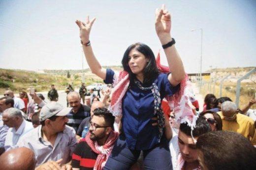 Khalida lors de sa libération d'une prison israélienne en 2016.