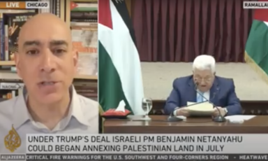 Capture d'écran de l'intervention d'Ali Abunimah sur Al Jazeera concernant les déclarations de Mahmoud Abbas