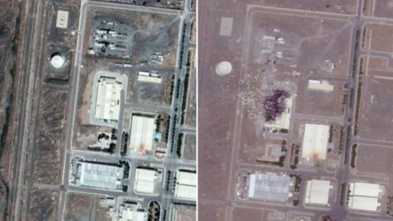 Images par satellite de la centrale nucléaire de Natanz. (Photos : Google (avant) et Iran International (après) – Images obtenues via Sky News)