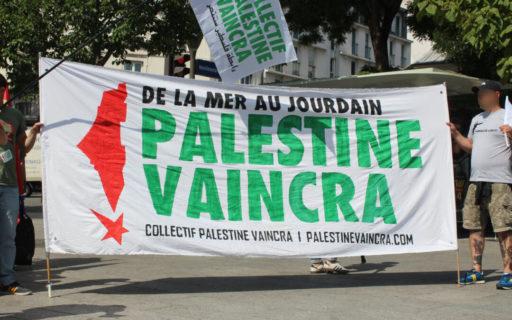 Calicot du Collectif Palestine Vaincra