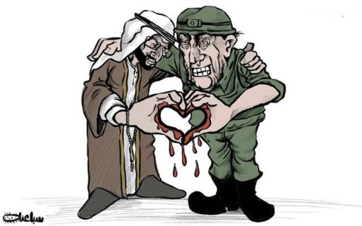 Cartoon de Mohammad Sabaaneh représentant les EAU et Israël