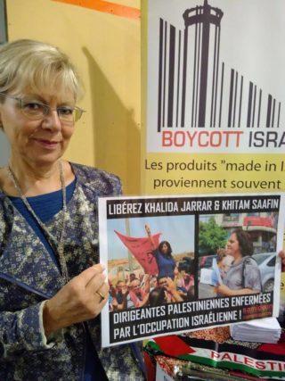 Campagne en 2017 pour la libération de Khalida Jarrar et Khitam Saafin à la semaine d'étude de Vie Féminine. Photo : Plate-forme Charleroi-Palestine