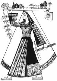 Le costume traditionnel en tant que symbole politique : une carte postale de l'OLP des années 1970 montre une villageoise palestinienne d'avant 1948 redessinée, avec les motifs de broderie de sa robe qui ont été remplacés par de la calligraphie politique. (Crédit : Palestine Costume Archive Research Library)
