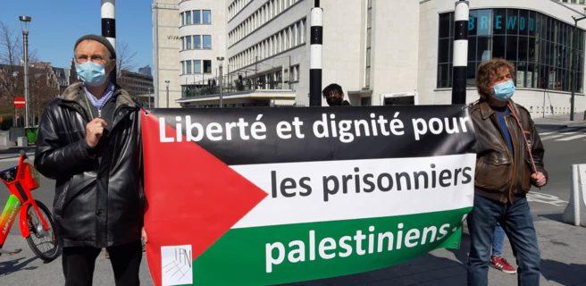 Manifestations pour les prisonniers palestiniens à Bruxelles. Photo : Nadine Rosa-Rosso