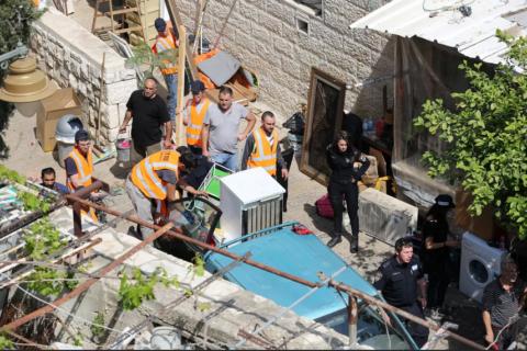 2018. Expulsion de la famille Rawabi de sa maison à Silwan, à Jérusalem-Est. (Photo: Emil Salman)