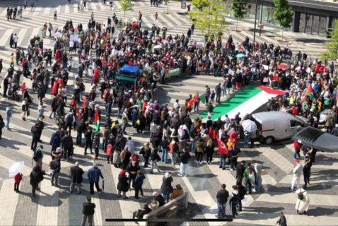 Soutien à la grève générale et la résistance en Palestine. Photo : Plate-forme Charleroi-Palestine
