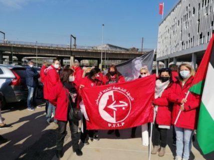 Des syndicalistes de la FGTB solidaires avec la Palestine. Photo : Plate-forme Charleroi-Palestine.