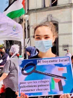 """Animation autour du stand BDS : un photomaton """"Je boycotte Israël"""" Photo : Mourad Boucif"""