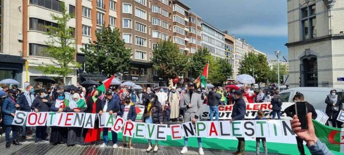 Soutien à la grève générale en Palestine. Photo : Luc Vandenameele