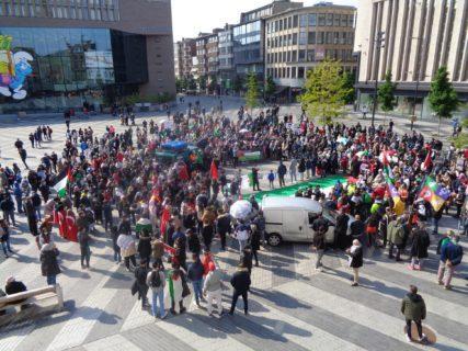 Le rassemblement à Charleroi, le 18 mai 2021, en soutien à la grève générale et la résistance en Palestine. Photo : René Andersen.