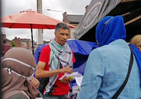 Action de soutien à Georges Abdallah sur le marché de Châtelineau (Photo : MDL, Plate-forme Charleroi-Palestine)