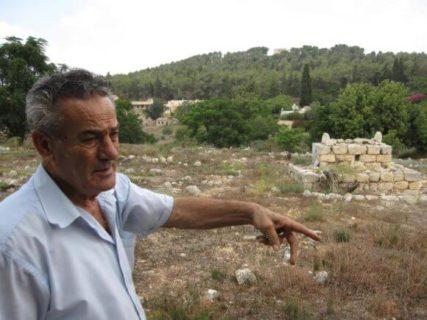 Abu Arab, le frère de Taha, au cimetière de Saffouriya. La forêt de pins sur la colline à l'arrière a été plantée sur les ruines des habitations de Saffouriya. (Photo : Jonathan Cook)