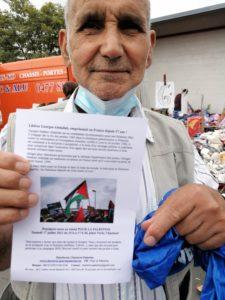 Mohamed Mokrani, ancien permanent syndical interprofessionnel de la FGTB et militant de longue date pour la Palesine, affiche sa solidarité avec Georges Abdallah (Photo : MDL, Plate-forme Charleroi-Palestine)