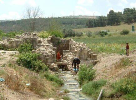 La source de Saffouriya, al-Kastel, est restée un but de visite pour les familles de réfugiés en Israël. De petits enfants barbotent dans l'eau en été, alors que de nombreuses familles y viennent pour remplir des bouteilles d'eau qui leur dureront la semaine. (Photo : Jonathan Cook)