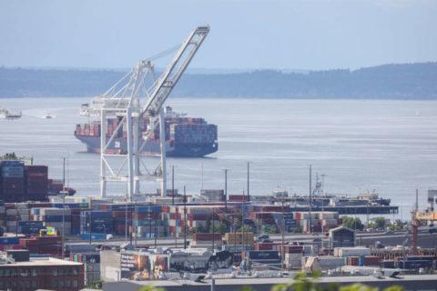 Le Zim San Diego est bloqué depuis le 2 juin du fait qu'un piquet communautaire toujours en place l'empêche d'accoster au port de Seattle. (Photo: Alex Garland)
