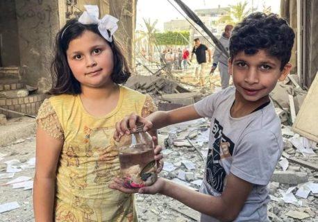 Nana et Ahmed, deux enfants de Gaza qui réapparaissent après la toute dernière attaque israélienne et qui sont retournés à leur maison anéantie pour y retrouver leur poisson d'agrément parmiles décombres. Les visages des deux enfants rayonnaient quand ils ont expliqué devant la caméra qu'ils étaient parvenus à sauver leur poisson. La petite fille dit alors: «Et nous voulons y retourner pour sauver les oiseaux.» (Photo : Belal Khaled)