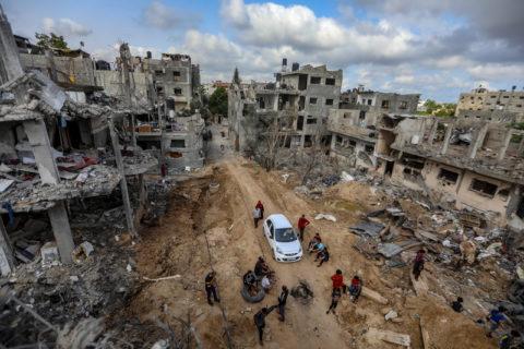 21 mai 2021. Un quartier de Beit Hanoun, dans le nord de Gaza, détruit lors des attaques israéliennes. (Photo : Mohammed Zaanoun / ActiveStills)