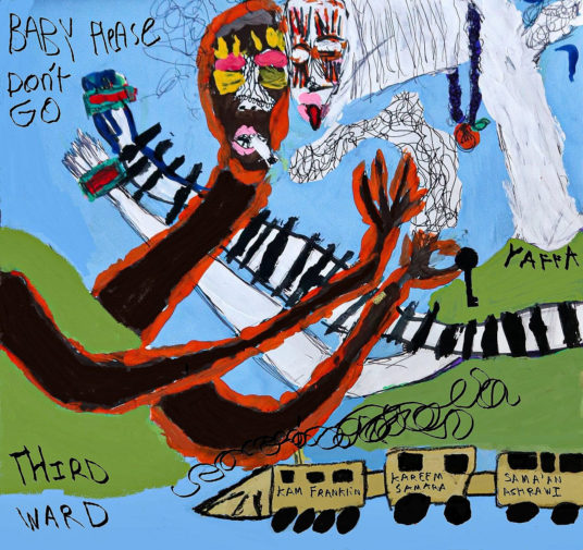 Une peinture de Nour Bazzari, un artiste palestinien adolescent qui se spécialise dans l'abstrait et qu'a inspiré la version de « Baby, Please Don't Go » d'Azraq. (Photo : avec l'aimable autorisation de Sama'an Ashrawi)